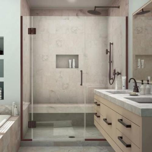 DreamLine Unidoor-X 59 in. to 59-1/2 in. x 72 in. Frameless Hinged Shower Door in Oil Rubbed Bronze