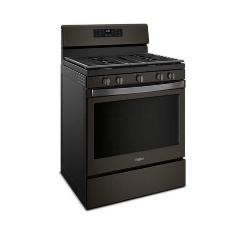 Whirlpool 5-Burner Freestanding 5-cu ft Self-cleaning Gas Range (Fingerprint-Resistant Black stainless) (Common: 30-in; Actual: 29.875-in)