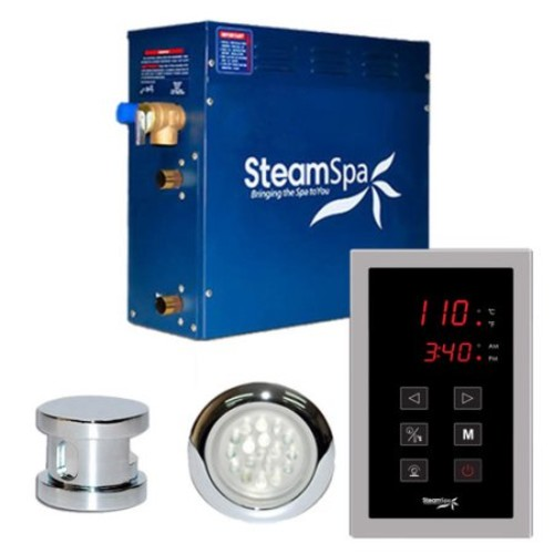 Steam Spa SteamSpa Indulgence 4.5 KW QuickStart Steam Bath Generator Package in Polished Chrome