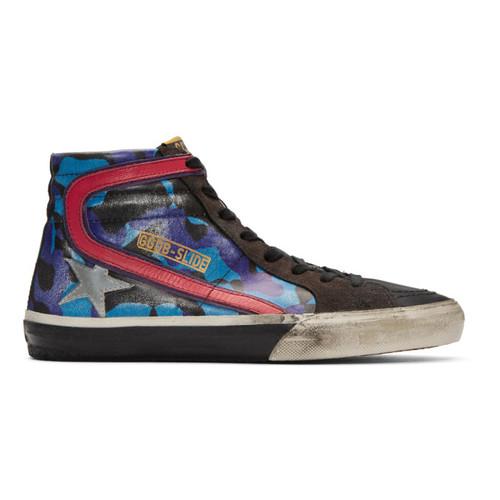GOLDEN GOOSE Blue Camo Slide High-Top Sneakers