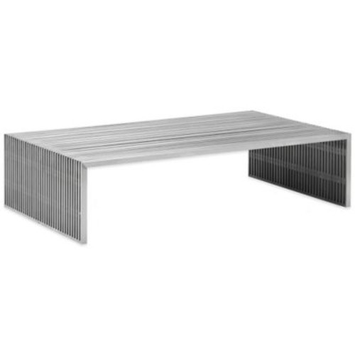 Zuo Novel Rectangular Coffee Table in Brushed Stainless Steel