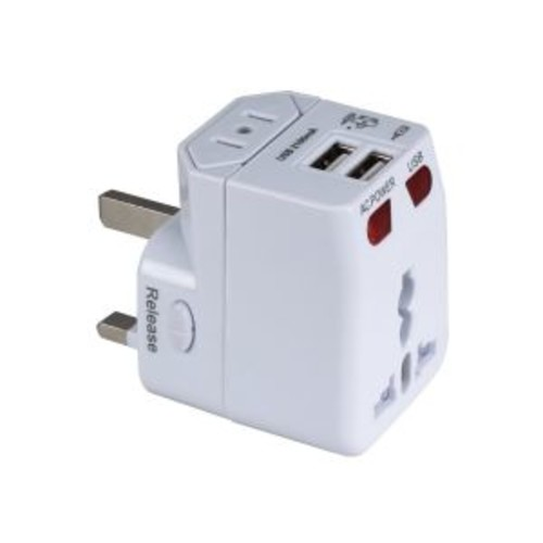 QVS Premium World Travel Power Adaptor with Surge Protection & 2.1A Dual-USB Charger - Power adapter - 2.1 A - 2 output connectors ( USB )