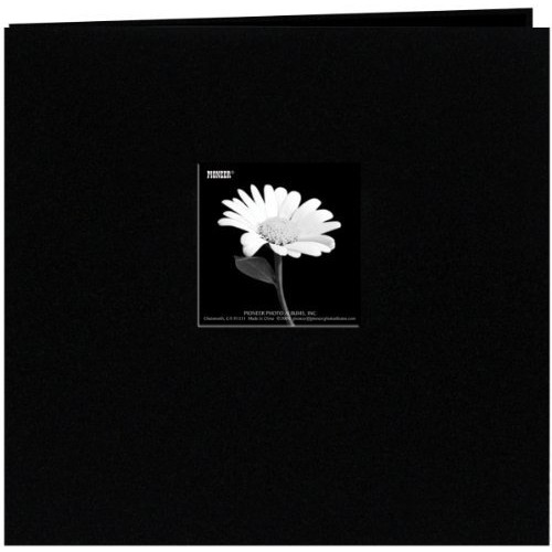Pioneer 12 Inch by 12 Inch Postbound Fabric Frame Cover Memory Book, Black [Deep Black, 12