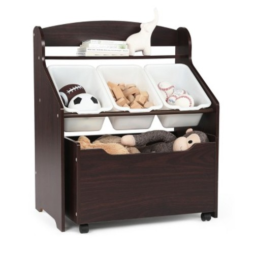 Tot Tutors Kids 3-Tier Storage Organizer with Rolling Toy Box, Espresso/White