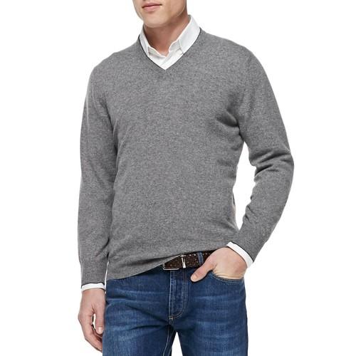 BRUNELLO CUCINELLI Cashmere V-Neck Pullover Sweater, Gray