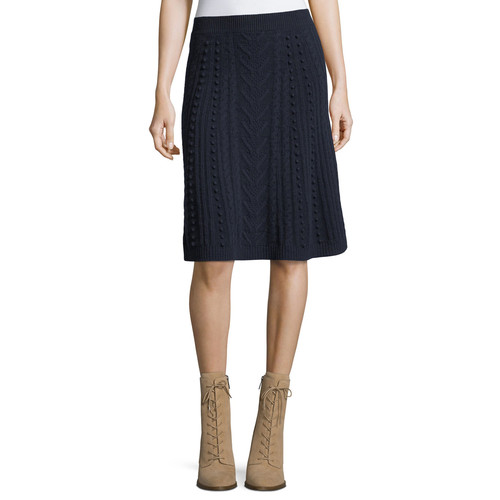 VALENTINO A-Line Wool Skirt, Navy