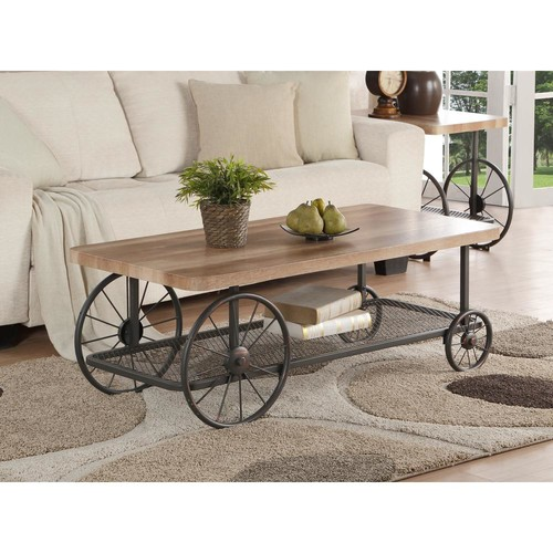 Acme Furniture Francie Oak and Antique Gray Mobile Coffee Table
