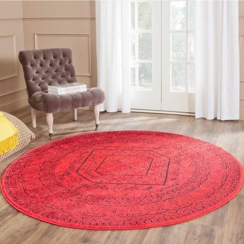 Safavieh Adirondack Red/Black 4 ft. x 4 ft. Round Area Rug
