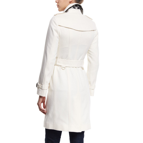 BURBERRY LONDON Double-Breasted Cashmere Trenchcoat, White