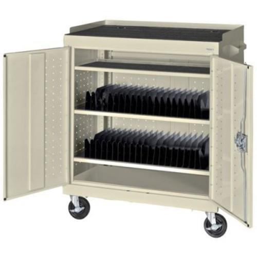 40-Compartment Laptop Storage Cart Color: Putty
