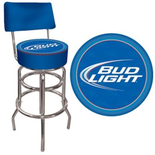 Trademark Global Vinyl Padded Bud Light Swivel Bar Stools With Back