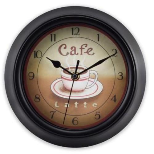 La Crosse Technology 9 in. H Round Black Coffee Decor Analog Wall Clock