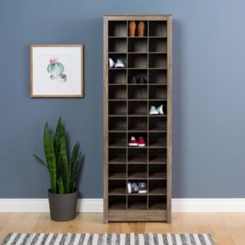 Prepac Space-Saving Shoe Storage Cabinet, Drifted Gray