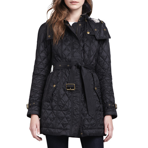 BURBERRY BRIT Finsbridge Hooded Quilted Jacket, Black