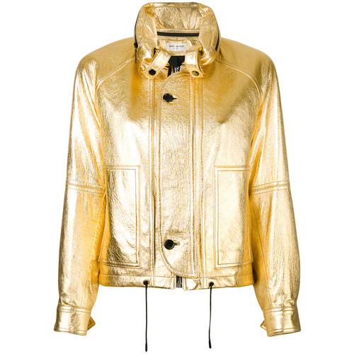 SAINT LAURENT Metallic Slouchy-Fit Jacket