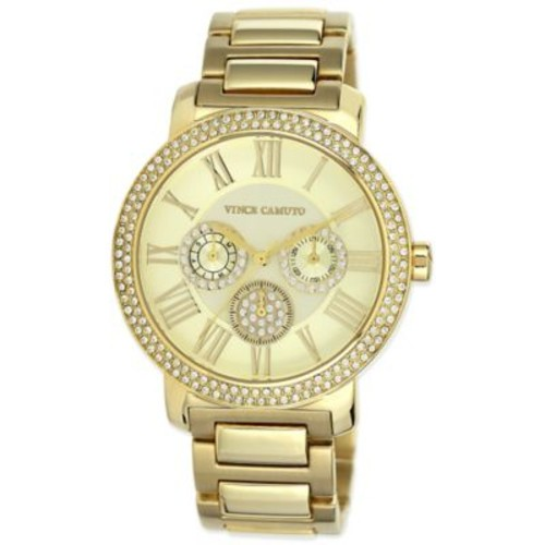 Vince Camuto Ladies' 42mm Crystal-Accented Chronograph Watch in Goldtone Stainless Steel