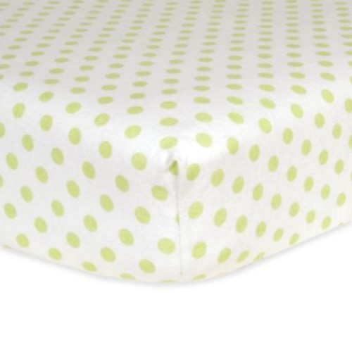Trend Lab Polka Dot Flannel Fitted Crib Sheet in Sage/White