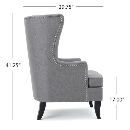 Canterburry High Back Fabric Wing Chair by Christopher Knight Home [option : Teal]