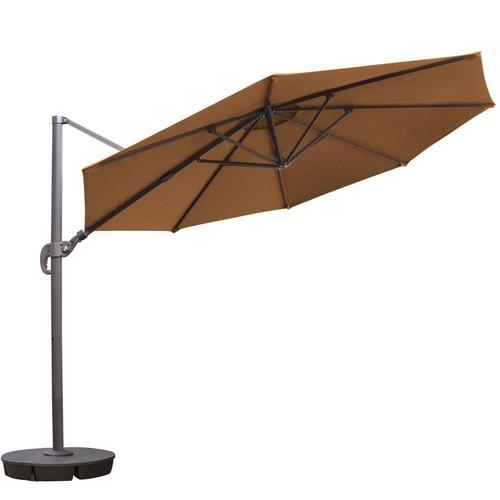 Island Umbrella Freeport 11 ft. Octagon Cantilever Patio Umbrella in Stone Sunbrella Acrylic