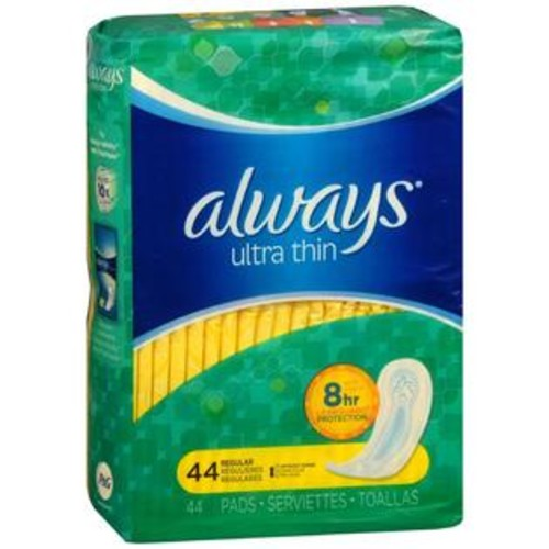 Always Ultra Thin Pads Regular, 44 Count