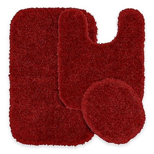 Serendipity 3-Piece Nylon Bath Rug Set in Chili Pepper Red