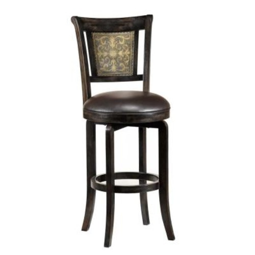 Hillsdale Furniture Camille 30.5 in. Dark Brown Swivel Cushioned Bar Stool