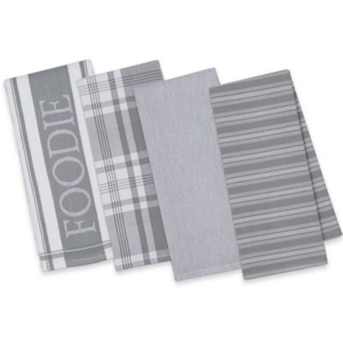 Design Imports 4-Piece Gourmet Patterned Kitchen Towel Set in Grey