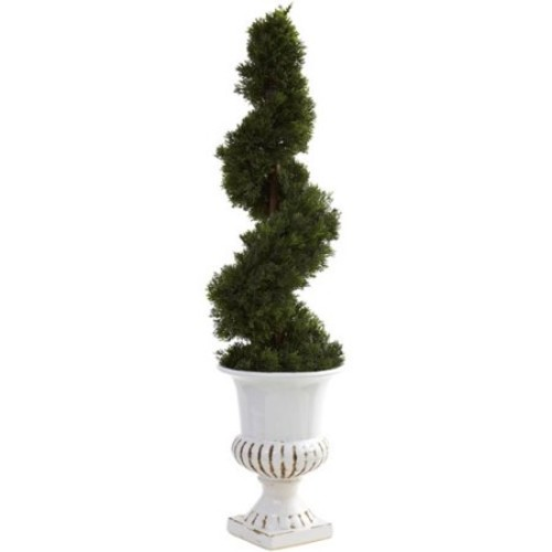 Nearly Natural Nearly Natural Cedar Spiral Round Topiary in Urn