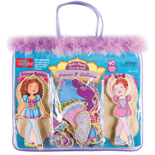 TS Shure Princess and Ballerina Wooden Magnetic Dress-Up Dolls