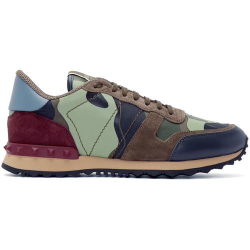 Green & Burgundy Camouflage Sneakers