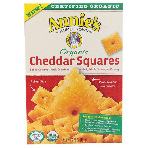 Annie's Homegrown Organic Cheddar Squares Baked Sanck -- 6.75 oz