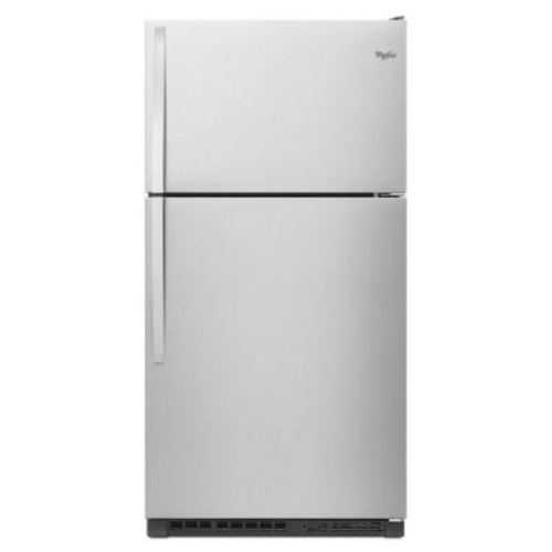 Whirlpool 33 in. W 20.5 cu. ft. Top Freezer Refrigerator in Monochromatic Stainless Steel