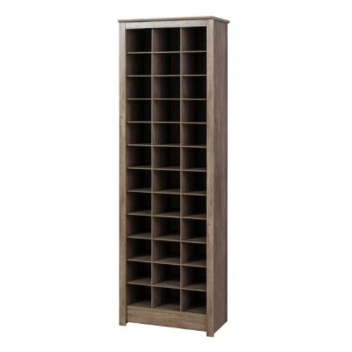 Prepac Drifted Gray Space-Saving Shoe Storage Cabinet