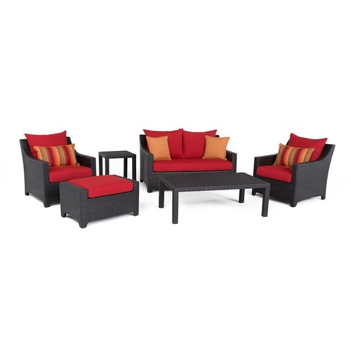 RST Brands Deco 6-Piece All-Weather Wicker Patio Love and Club Deep Seating Set with Sunset Red Cushions