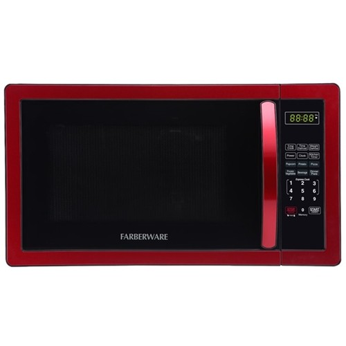 Farberware - Classic 1.1 Cu. Ft. Mid-Size Microwave - Metallic red