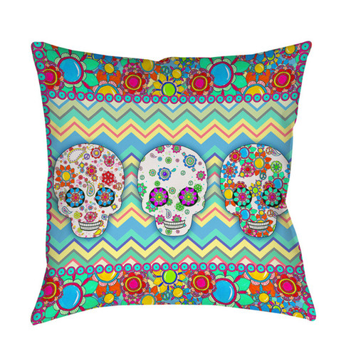Sugar Skull Chevron Box Indoor/ Outdoor Pillow