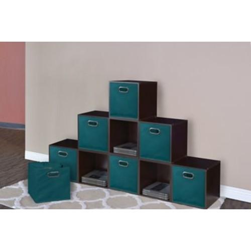 Rebrilliant Foldable Fabric Storage Tote (Set of 12); Teal