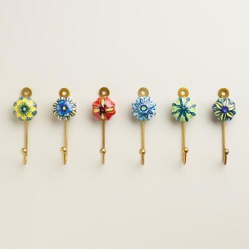 Painted Ceramic Hooks, Set of 6