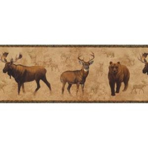 York Wallcoverings Lake Forest Lodge North American Animals Wallpaper Border