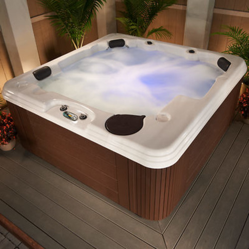 Celestial Spas Solaris 6- to 7-Person 50-Jet Acrylic Spa - Sterling Silver/Mahogany