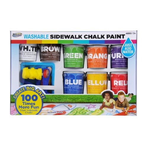 RoseArt Washable Sidewalk Chalk Paint, Big Super Set with 8 Colors & 2 Foam Brushes [8 Color Pack]