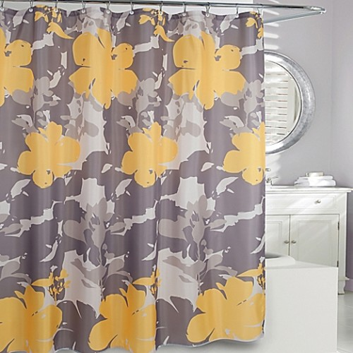 Moda at Home Painted Botanical Fabric Shower Curtain in Yellow