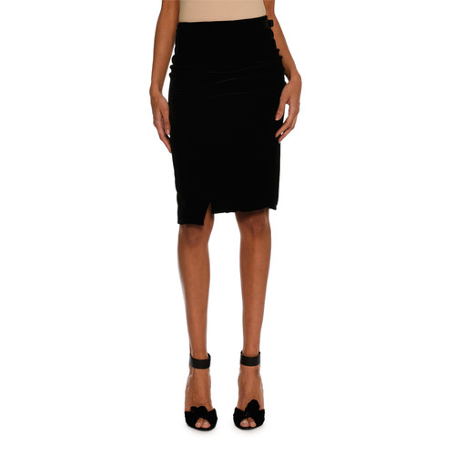 TOM FORD Stretch-Velvet Pencil Skirt, Black