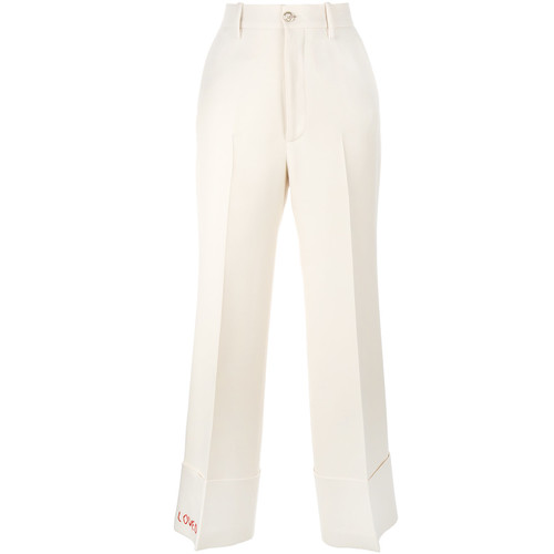 GUCCI Loved Embroidered Wide-Leg Trousers