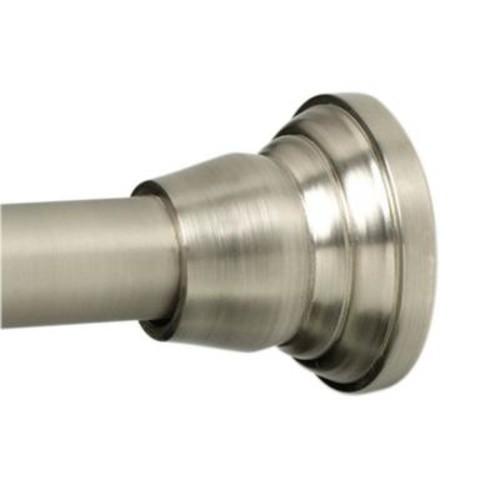 Zenna Home NeverRust Decorative Finial 46 in. - 72 in. Aluminum Adjustable Tension No-Tools Shower Rod in Satin Nickel