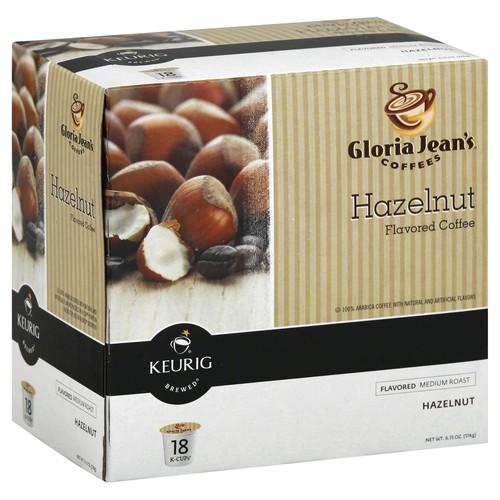 Gloria Jean's Coffee K-Cups, Medium Roast, Hazelnut Flavored - 18 k-cups [6.15 oz (174 g)]