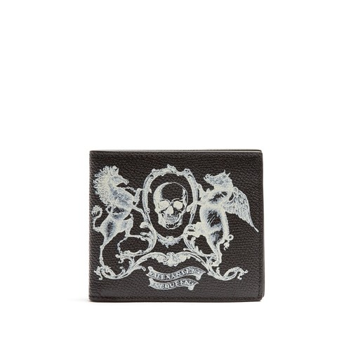 Coat of Arms-print leather wallet