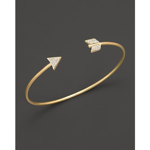 14K Yellow Gold Arrow Bangle Bracelet