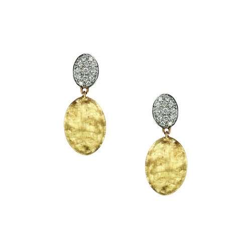 Siviglia 18K Gold & Pav Diamond Double-Drop Earrings