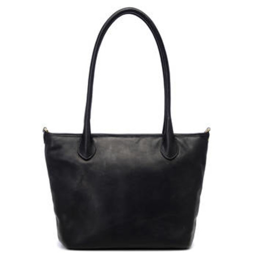 Leather Capri Camera Tote Bag (Black)